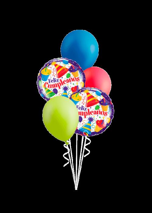 Bouquet de globos Feliz Cumpleaños cupcakes