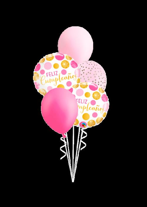Bouquet de globos Feliz Cumpleaños puntos