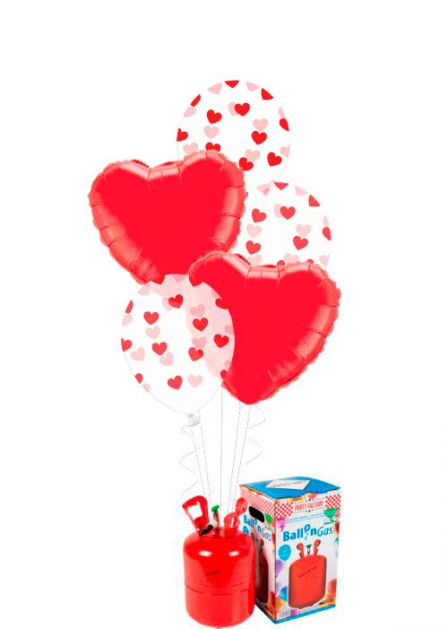 Helio + Bouquet de globos Latex foil rojo