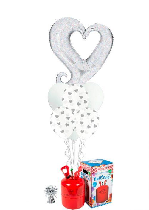 Bouquet de globos Corazón plata holográfico