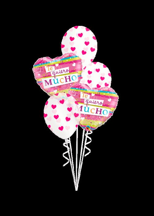 Bouquet de globos Te Quiero mucho corazones rayados