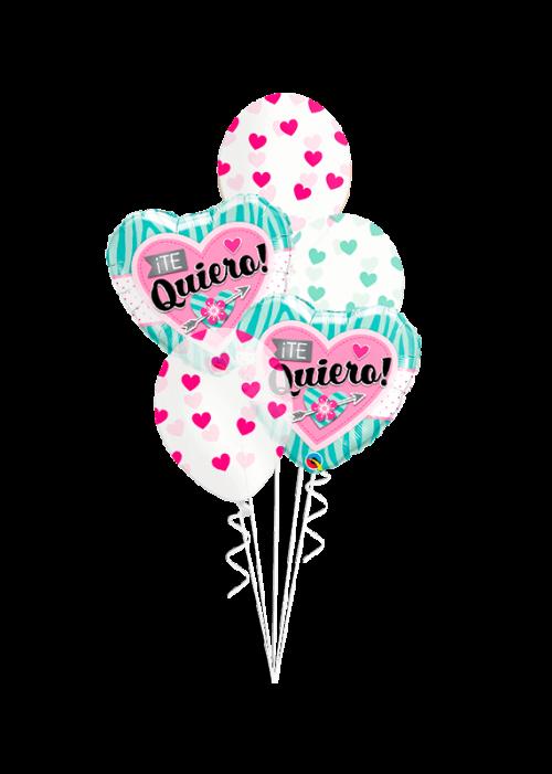 Bouquet de globos Te Quiero corazón y flor