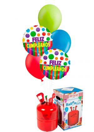 Helio + Bouquet de globos Feliz Cumpleaños dots colores