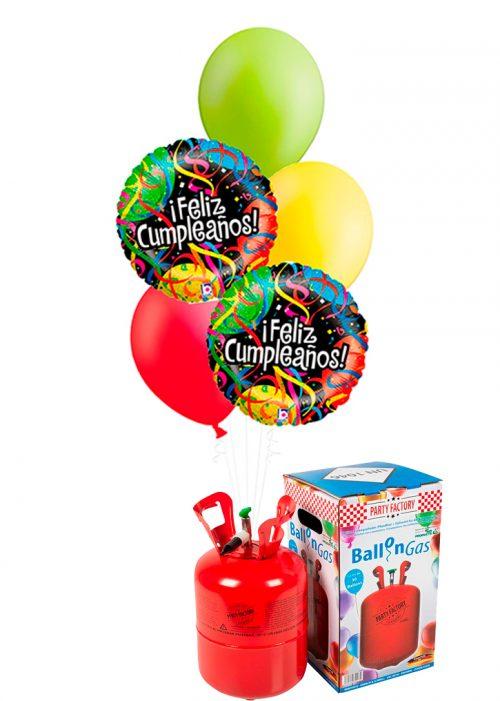 Helio + Bouquet de globos Feliz Cumpleaños serpentina