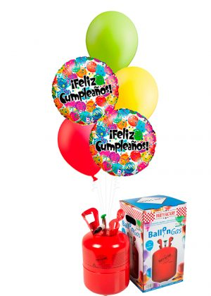 Helio + Bouquet Feliz Cumpleaños globos