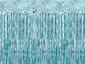 Cortina de flecos metalizada Azul claro