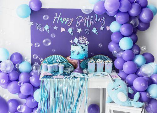 Cortina fiesta Azul satinado