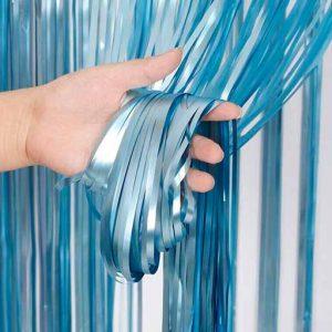Cortina de fiesta con flecos metalizada Azul mate