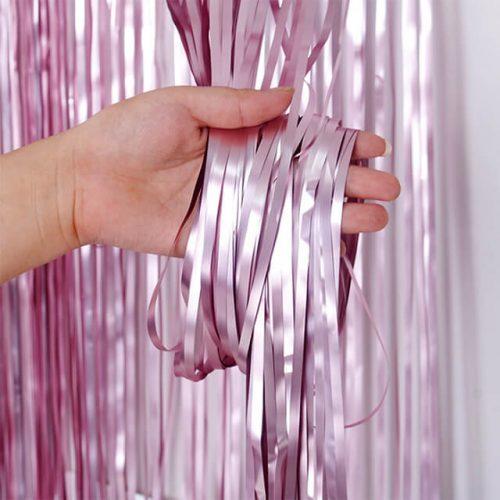Cortina de flecos metalizada Rosa mate