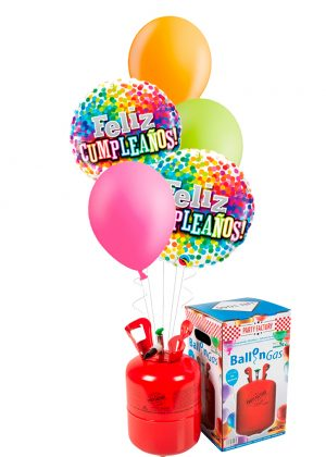 Helio + Bouquet Cumpleaños confeti