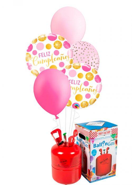 Helio + Bouquet Feliz Cumpleaños puntos