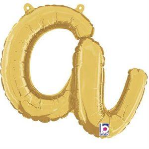Globo letra A cursiva dorada