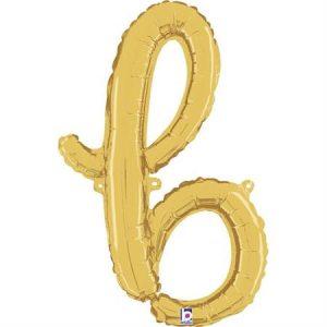 Globo letra B cursiva dorada
