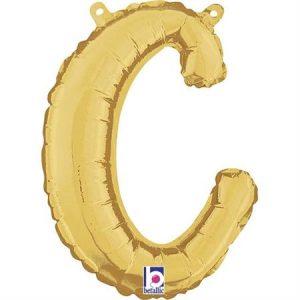Globo letra C cursiva dorada