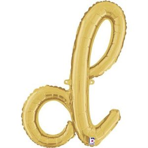 Globo letra D cursiva dorada