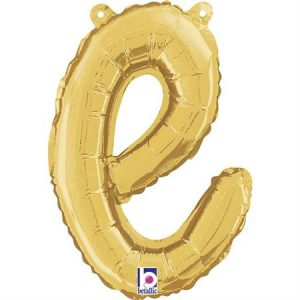 Globo letra E cursiva dorada