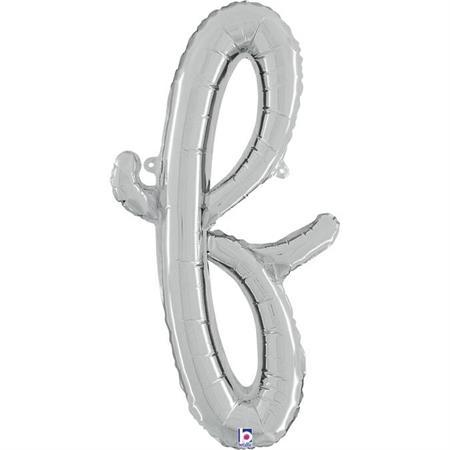 Globo letra F cursiva plata