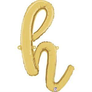 Globo letra H cursiva dorada