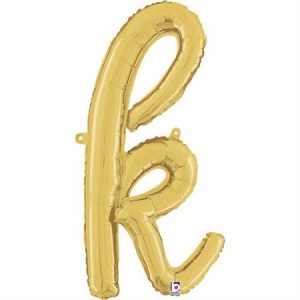 Globo letra K cursiva dorada