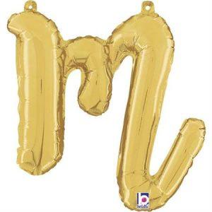 Globo letra M cursiva dorada