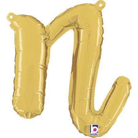 Globo letra N cursiva dorada