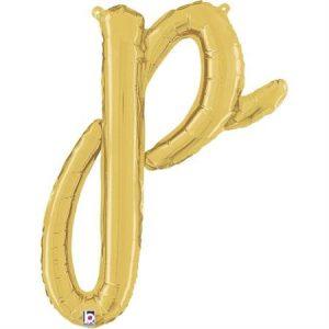 Globo letra P cursiva dorada
