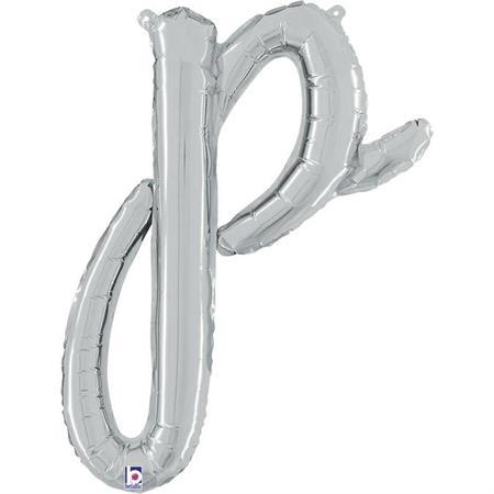 Globo letra P cursiva plata