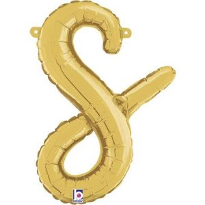 Globo letra S cursiva dorada