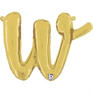 Globo letra W cursiva dorado