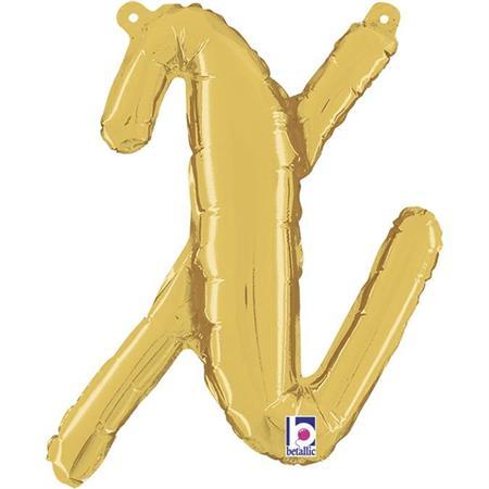 Globo letra X cursiva dorada