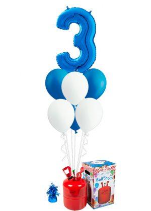 Helio + Bouquet cumpleaños Azul 1 número y 6 globos