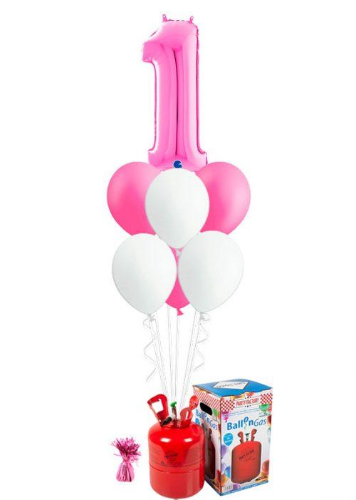 Helio + Bouquet cumpleaños Fucsia 1 número y 6 globos