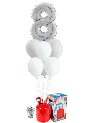 Helio + Bouquet Plata 1 número y 6 globos