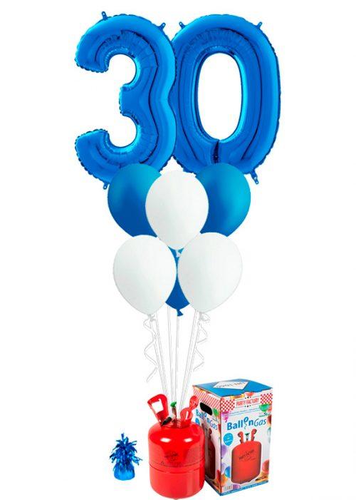 Helio + Bouquet Azul 2 números y 6 globos