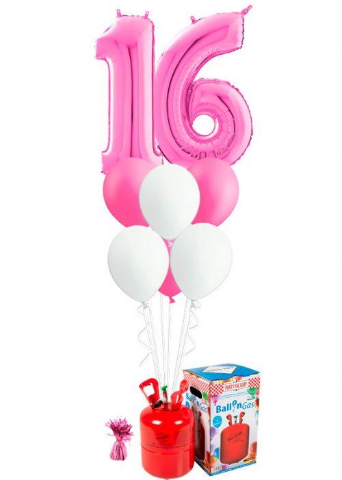 Helio + Bouquet Fucsia 2 números y 6 globos
