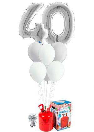 Helio + Bouquet Plata 2 números y 6 globos