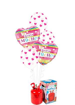 Helio + Bouquet Te Quiero mucho corazones rayados