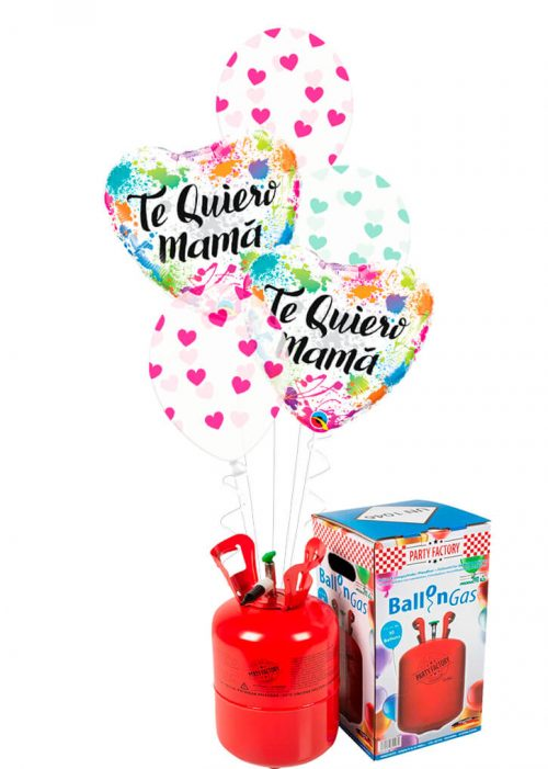 Helio + Bouquet globos Te Quiero Mamá