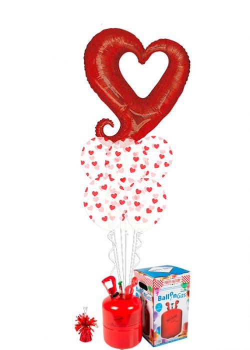 Helio + Bouquet de globos Corazón rojo holográfico