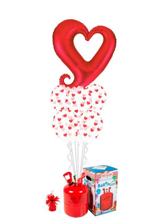 Helio + Bouquet Corazón rojo