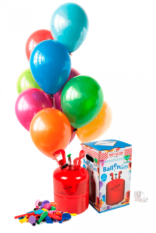 Pack helio Mini + 30 globos látex