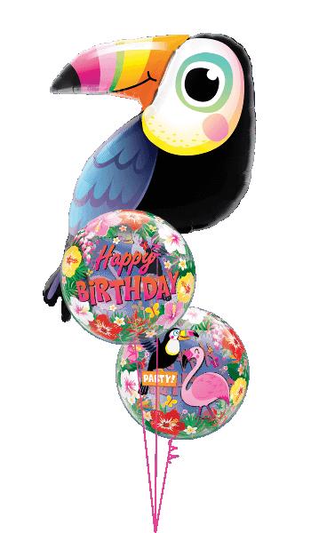 Globo burbuja Cumpleaños Tropical
