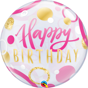Globo burbuja Cumpleaños Rosa
