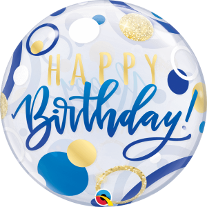 Globo burbuja Cumpleaños Azul