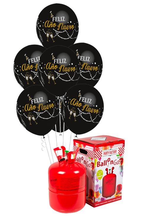 Pack helio Mini + 30 globos Feliz Año Nuevo