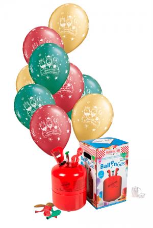 Pack helio Mini + 30 globos Reyes Magos