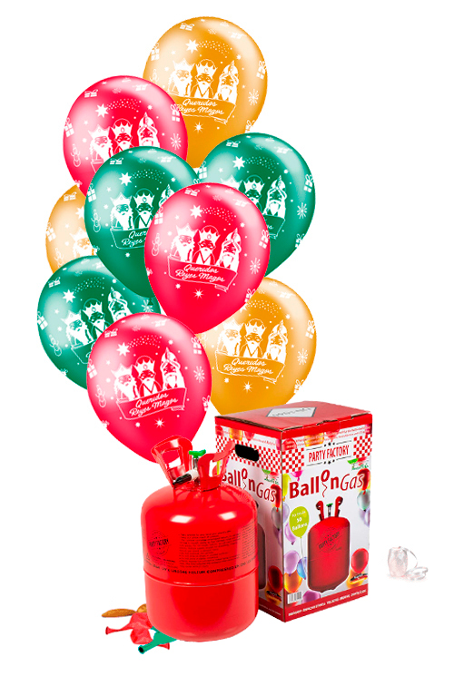 Pack helio Maxi + 50 globos Reyes Magos