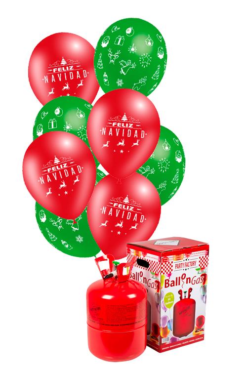 Pack helio Maxi + 50 globos Feliz Navidad