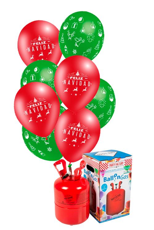 Pack helio Mini + 30 globos Feliz Navidad