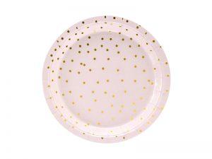 Platos color Rosa claro con lunares Dorados 18cm